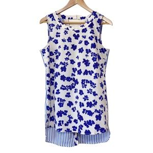 CAbi #5357 Blue Sleeveless Floral Blouse Size S